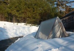 April 8: The swingset greenhouse melts the snow around it.