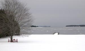 snow, wharf, Bay